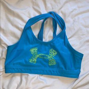 blue under armour sports bra